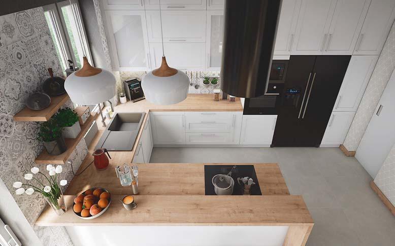 Mẫu nhà bếp nhỏ đẹp 1_ Tủ bếp hình chữ U