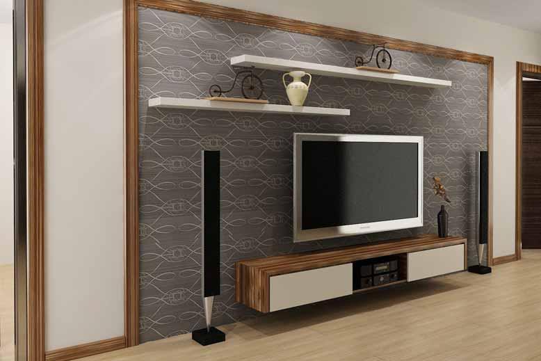 Mẫu kệ treo tường đặt tivi ở phòng khách đẹp long lanh hiện đại