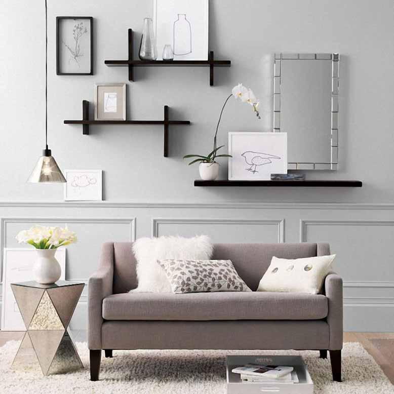 Tận dụng những thiết kế đơn giản nhất giúp những mẫu kệ trang trí cho phòng khách trở nên gọn gàng, thanh lịch