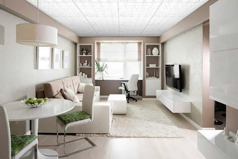 Mẫu trần thạch cao thả phòng khách hiện đại