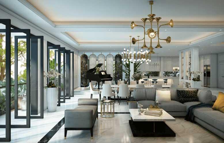 Mẫu trần thạch cao phòng khách đẹp cho biệt thự