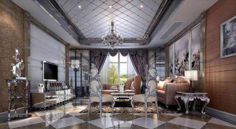 Mẫu trần thạch cao phòng khách cho biệt thự tân cổ điển