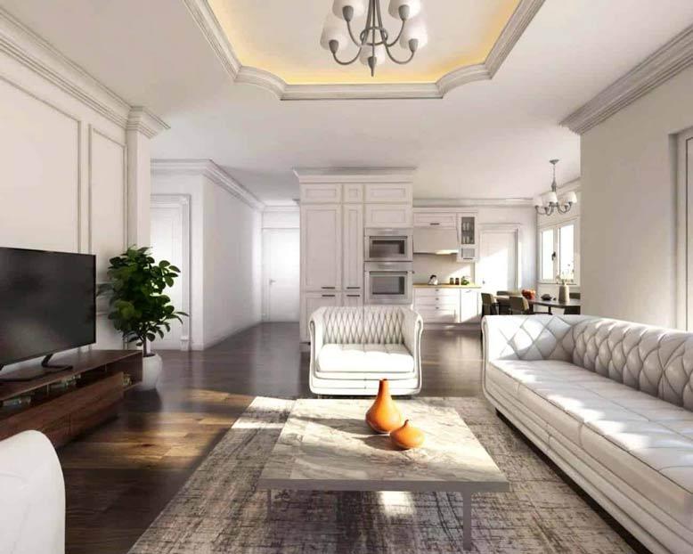 Gợi ý mẫu thiết kế nội thất chung cư tân cổ điển với không gian rộng