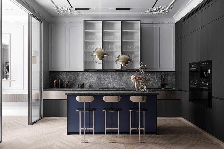 Không gian bếp với thiết kế tinh tế và vô cùng bắt mắt