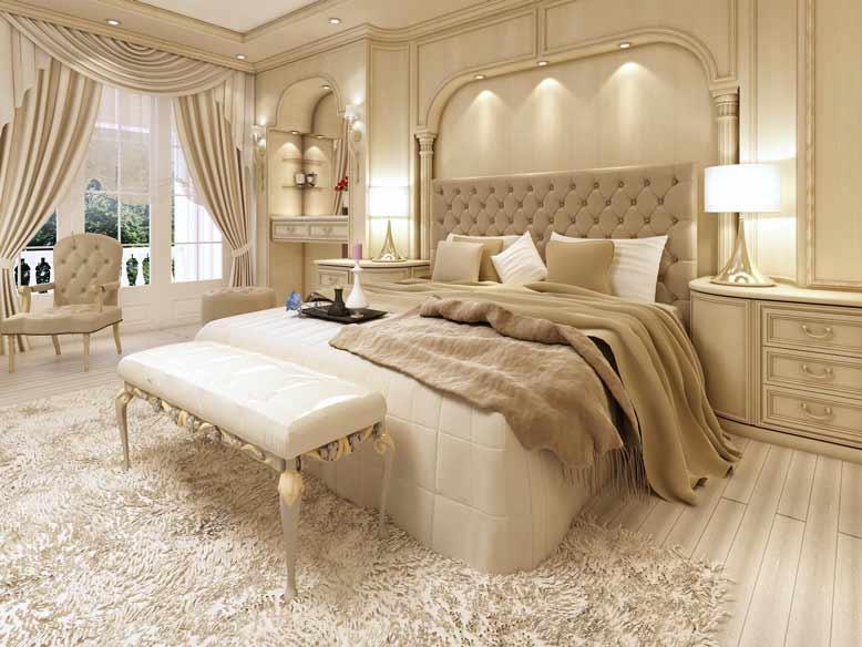 Phòng ngủ với phong cách tân cổ điển với nội thất thể hiện đẳng cấp