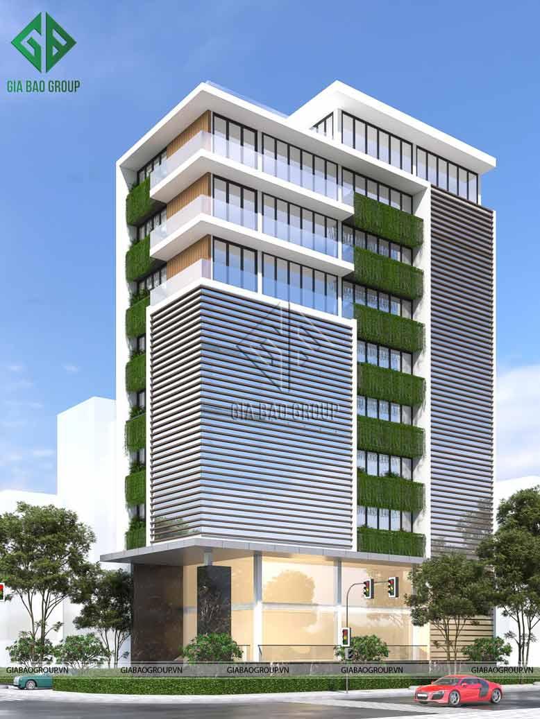 Thiết kế cao ốc kết hợp mảng xanh thiên nhiên