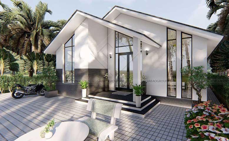 Thiết kế nhà cấp 4 với mái ngói thanh thoát, sắc trắng tinh tế