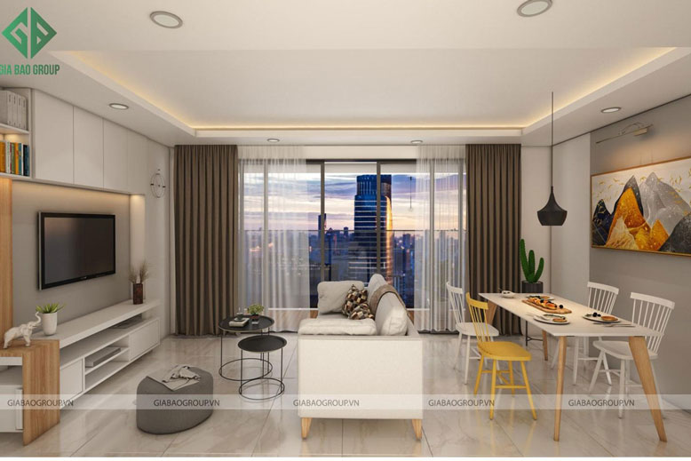 Thiết kế nội thất căn hộ chung cư thông minh với phòng khách liền bếp