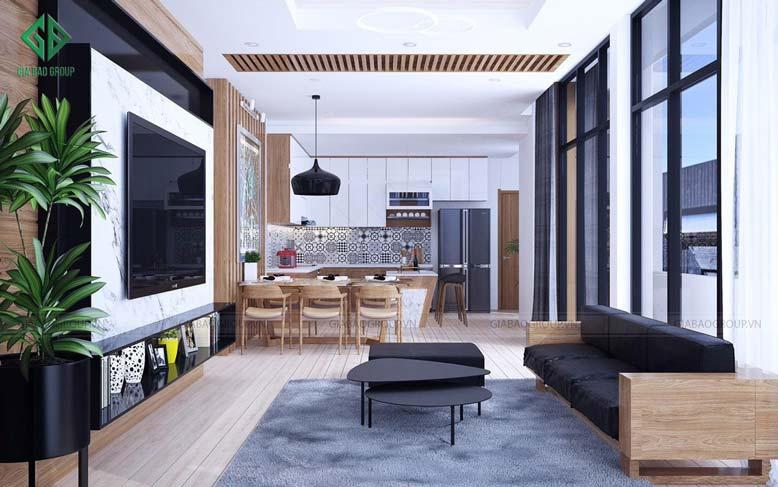 Không gian mở giúp cho thiết kế nội thất nhà phố thoáng đãng hơn