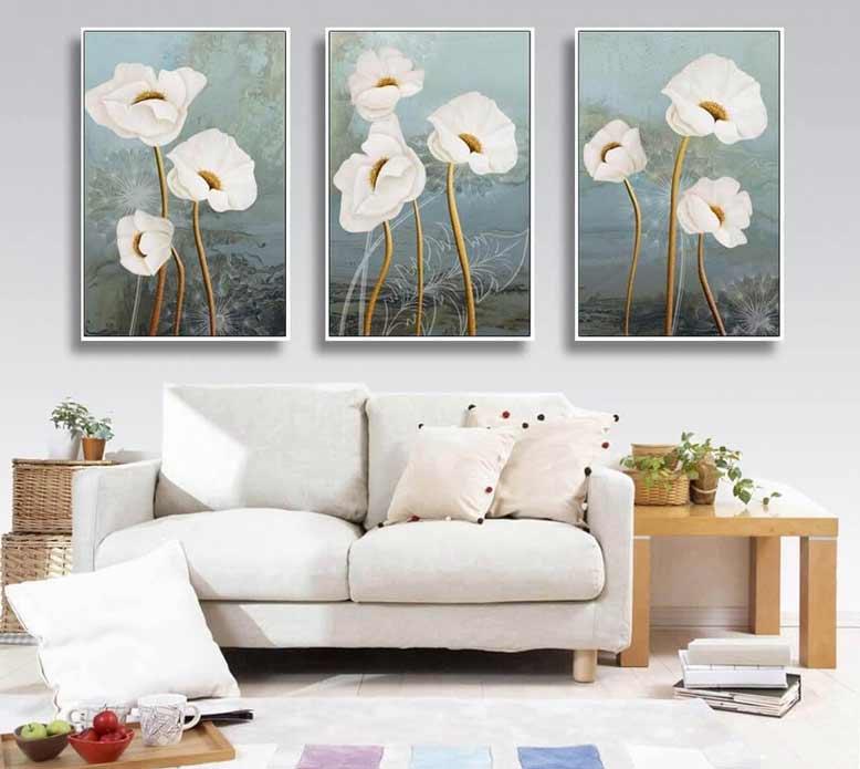 Mẫu tranh treo tường họa tiếng hoa trắng tinh khôi