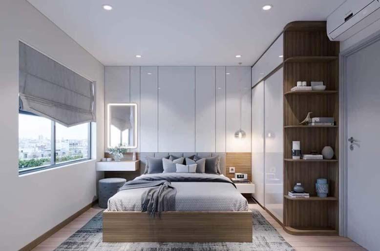 Căn phòng ngủ trong căn hộ Vinhome Quận 9 cực sang trọng như khách sạn 5 sao.