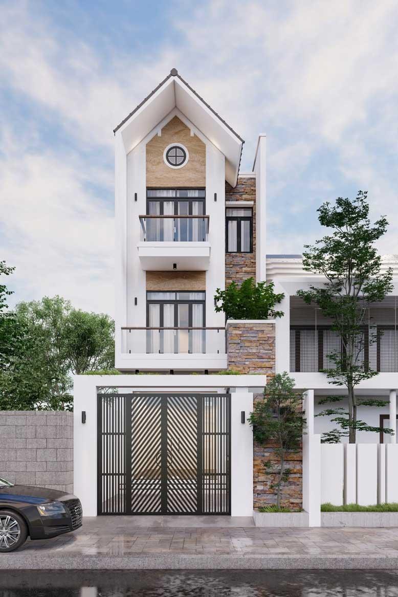 Nhà 3 tầng mái Thái hiện đại đẹp hút mắt