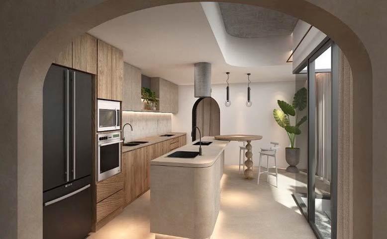 Phòng bếp phong cách Minimalism trong gam màu be đất