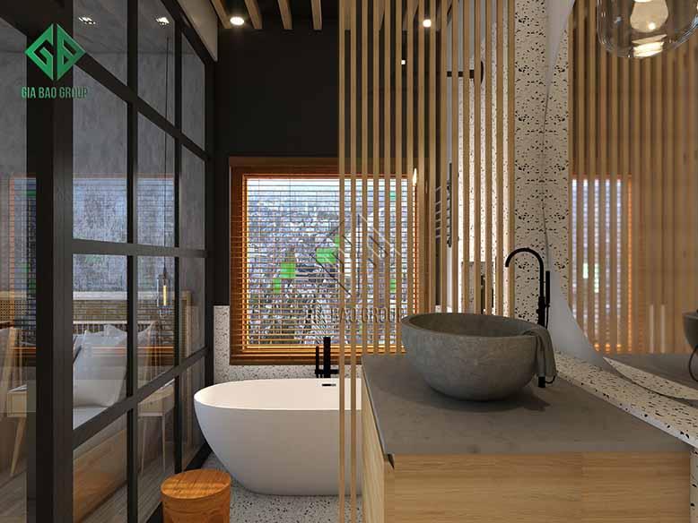Thiết kế phòng tắm nằm gọn trong phòng ngủ, mang đến sự tiện lợi