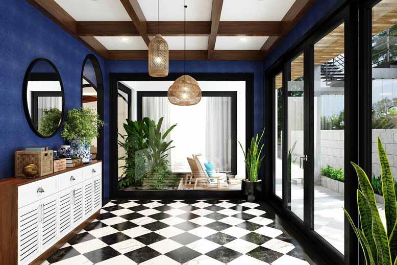 Khu vực bên ngoài phòng khách ấn tượng với gạch bông lát sàn đen trắng