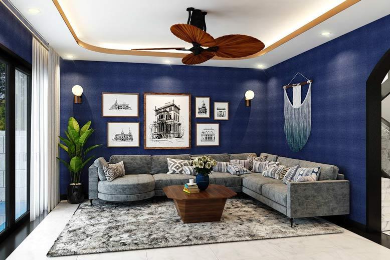 Nội thất phòng khách biệt thự hiện đại pha nét hoài cổ với màu xanh dương đậm