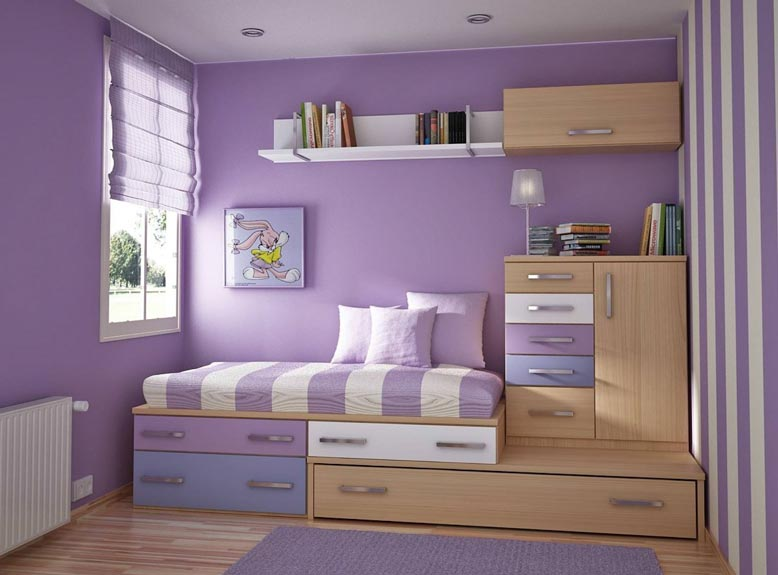 Mẫu nội thất phòng ngủ màu tím hiện đại và mới mẻ