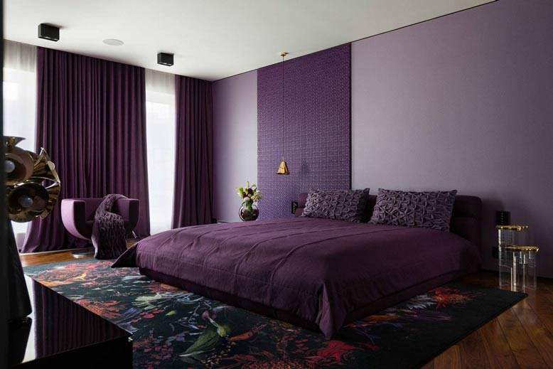 Đưa màu tím than sang trọng vào thiết kế nội thất phòng ngủ