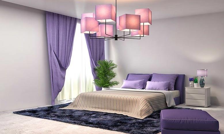 Phối cảnh nội thất cho phòng ngủ màu tím trông lạ mắt