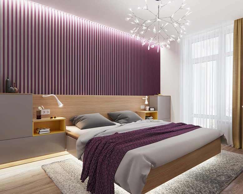 Mẫu thiết kế phòng ngủ màu tím với đồ nội thất hiện đại
