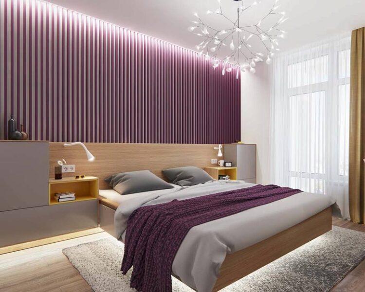 Những mẫu phòng ngủ màu tím đa dạng cách thiết kế