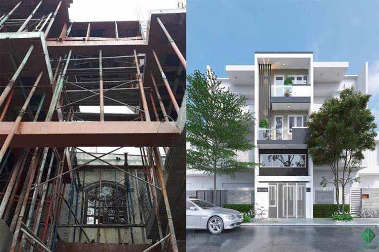 Nhà phố 3 tầng - một sản phẩm thi công xây dựng của Gia Bảo Group