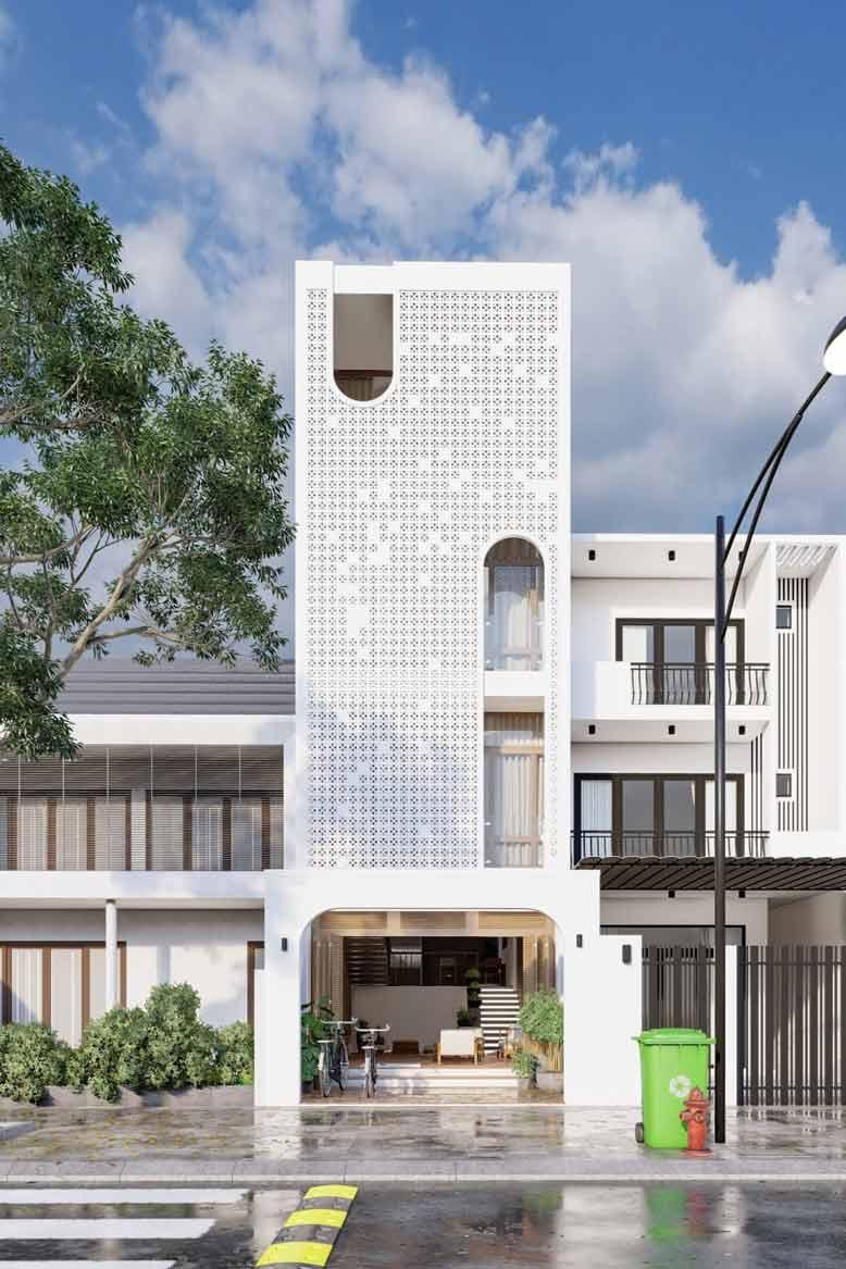Gạch bông gió ấn tượng trong thiết kế nhà 4 tầng hiện đại