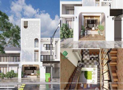 Mẫu nhà phố 4 tầng hiện đại thiết kế gạch bông gió độc đáo, ấn tượng
