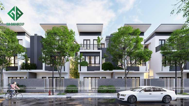 Thiết kế nhà liền kề với không gian xanh