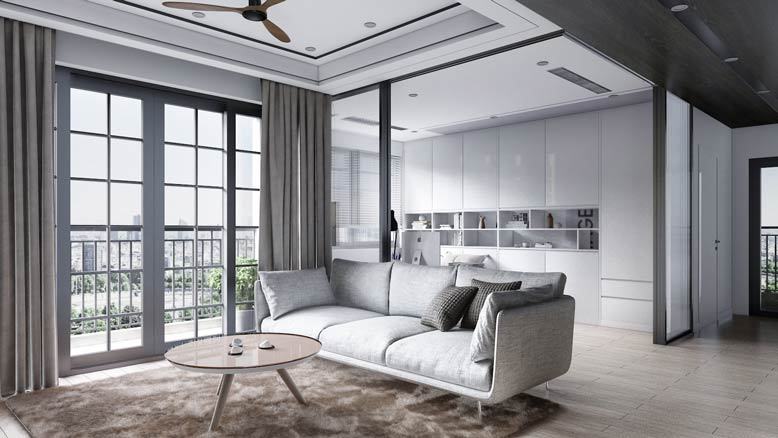 Phòng khách được thiết kế sang trọng với gam màu trắng chủ đạo