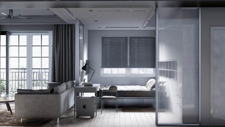 Phòng ngủ và phòng khách được nối liền với nhau.
