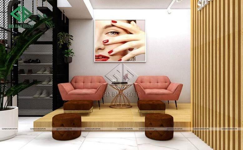 Thiết kế shop diện tích nhỏ - Khu vực làm nail của LANI SHOP