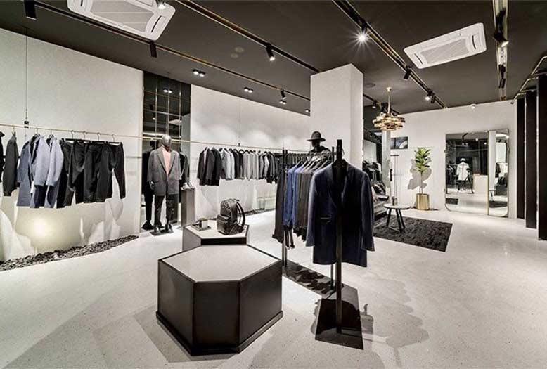 Thiết kế shop quần áo thời trang nam đơn giản với phong cách tối giản