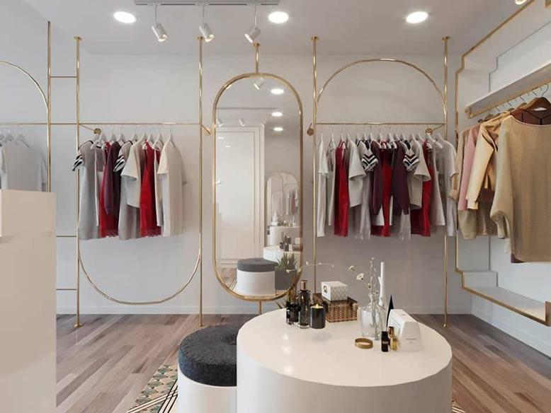 Thiết kế shop quần áo đơn giản với những kiểu dáng đồ dùng có chọn lọc