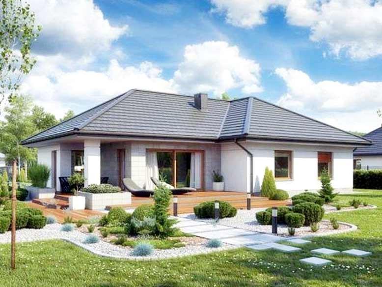 Mẫu nhà cấp 4 thiết kế sân vườn với kiến trúc đơn giản