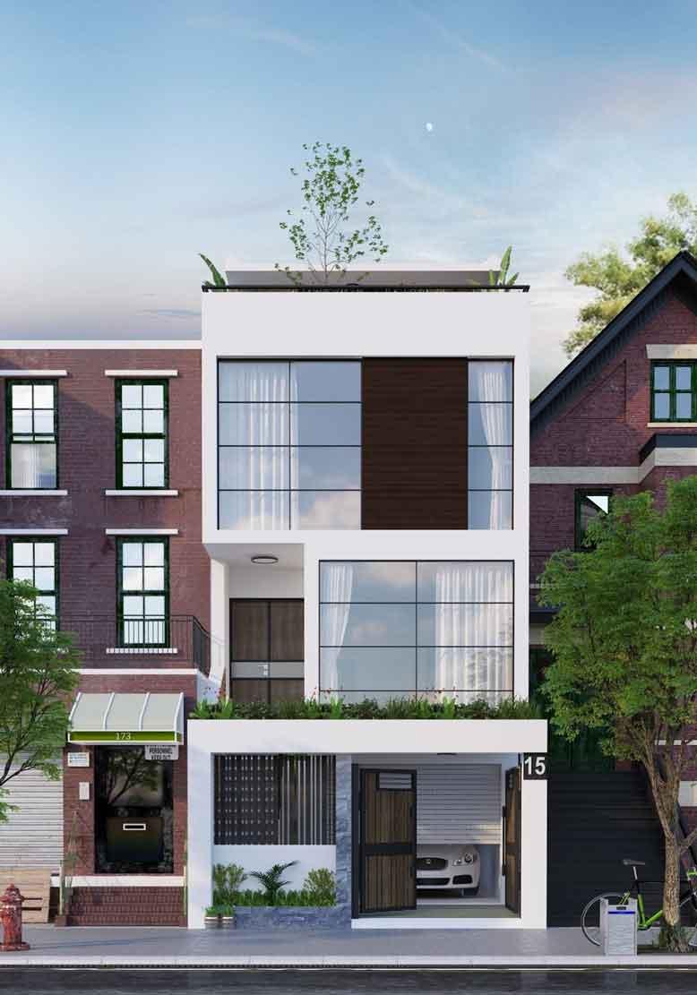 Gợi ý thiết kế nhà phố dạng ống hiện đại với những tấm kính cường lực lớn