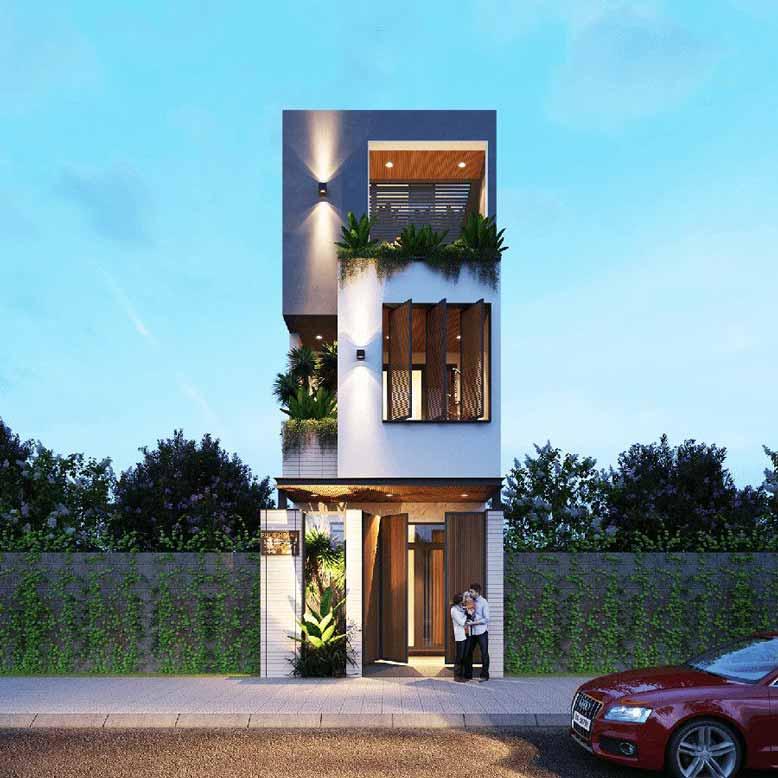 Mẫu nhà phố hiện đại 3 tầng kết hợp mảng xanh