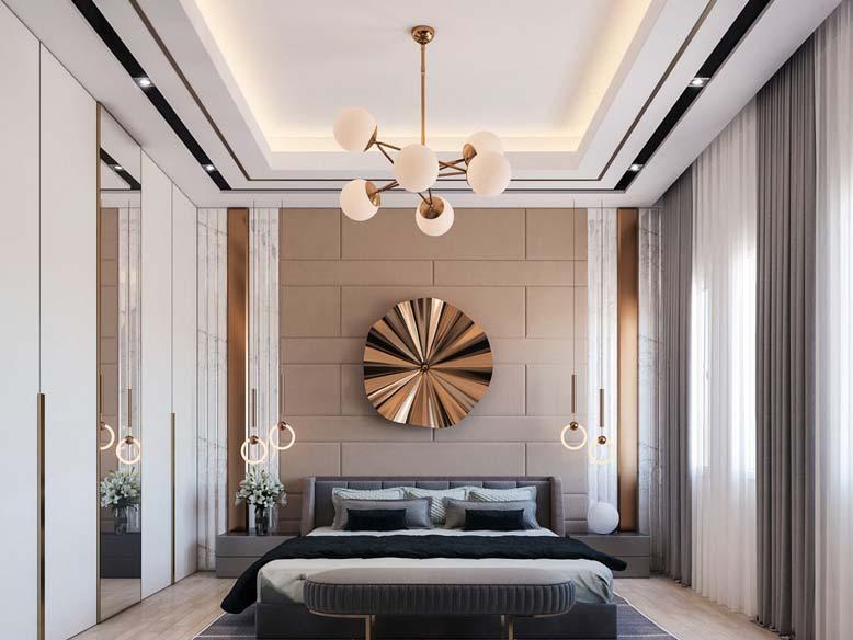 Phòng ngủ trong thiết kế nội thất căn hộ chung cư phong cách hiện đại