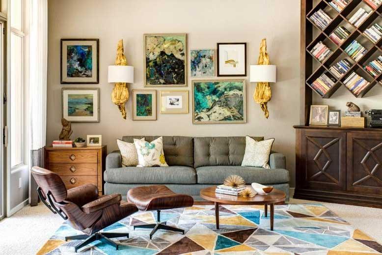 Thiết kế nội thất căn hộ chung cư phong cách Mid Century Modern cho phòng khách