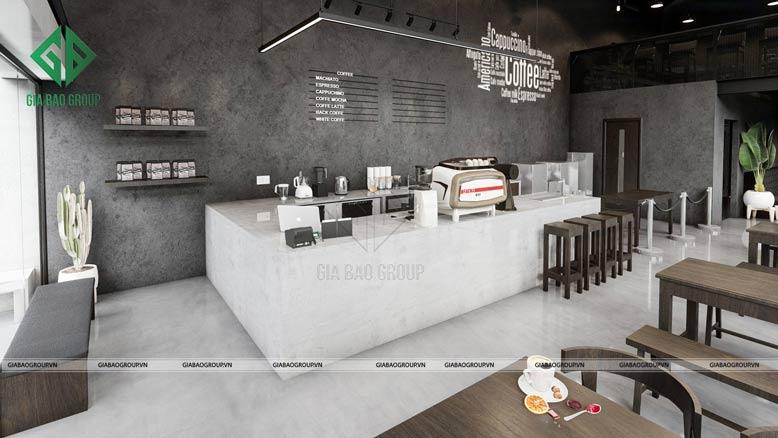 thiết kế quán cafe với không gian rộng, thoáng, sạch sẽ
