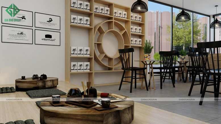 Thiết kế nội thất quán cafe đẹp màu sắc hài hòa với thiên nhiên tạo cảm giác dễ chịu