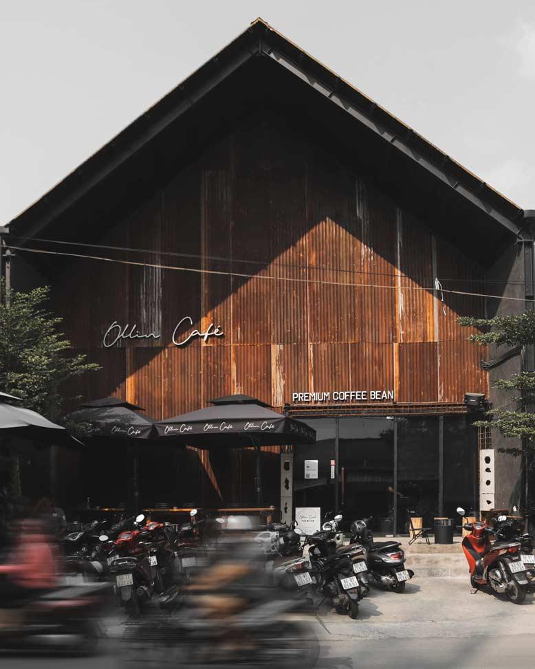 Quán cafe ollin với phong cách công nghiệp hiện đại tối giản