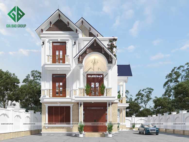 Công trình thiết kế biệt thự 3 tầng tân cổ điển mái Thái