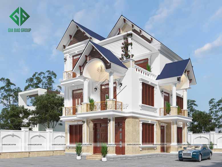 Nhìn bao quát vẻ đẹp của căn biệt thự 3 tầng tân cổ điển
