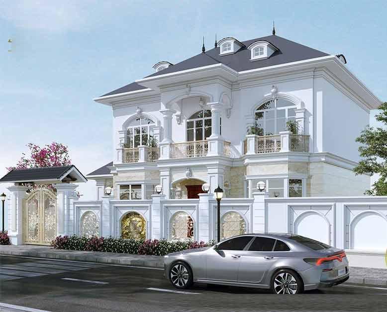 Tham khảo cách thiết kế biệt thự tân cổ điển 2 tầng đẹp