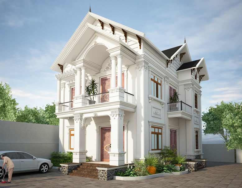 Mẫu biệt thự tân cổ điển đẹp 2 tầng được thiết kế đẹp mắt