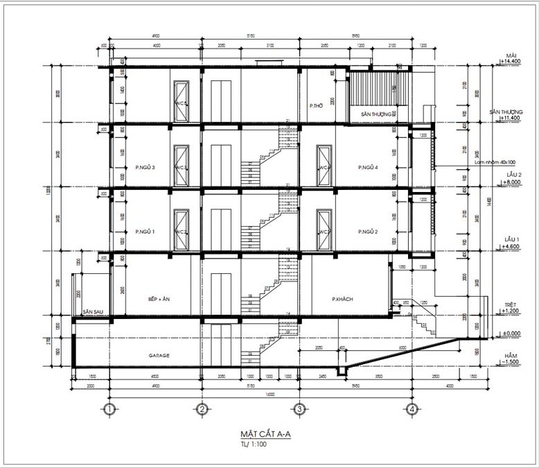 Mặt cắt A-A trong mẫu nhà phố 4 tầng tại Bình Chánh