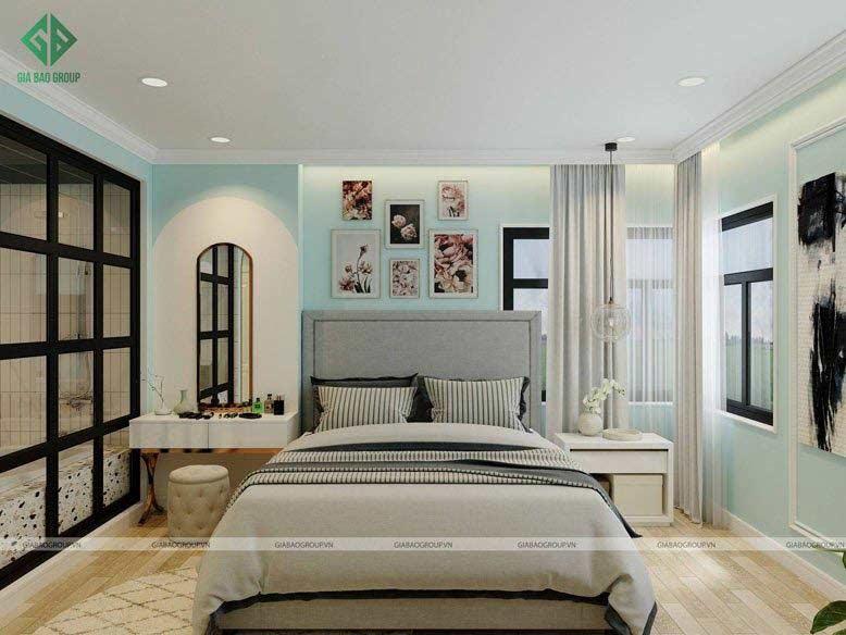 Thiết kế và thi công nội thất phòng ngủ với gam màu tạo cảm giác thư thái