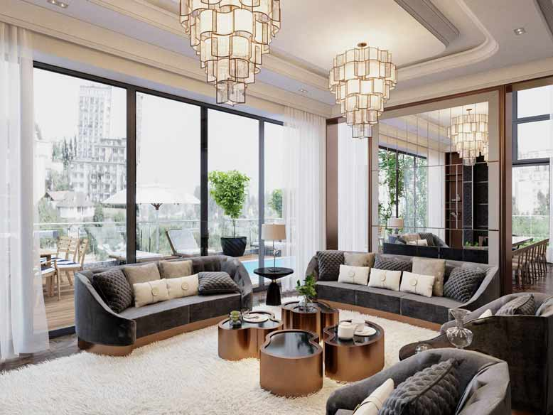 Thi công nội thất phòng khách theo phong cách tân cổ điển