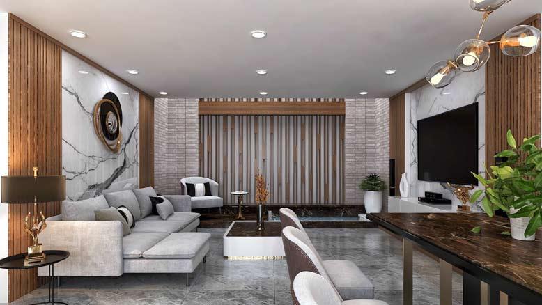 không gian phòng khách được thiết kế hài hòa và đẹp mắt